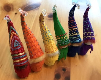 A Rainbow of Gnomes, Wool Felt Gnomes, Peg Doll Gnome, Waldorf Inspired, Art Doll