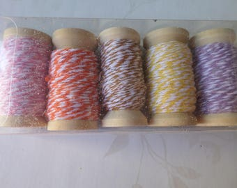 x 5 mixed reels Bakers Twine 5 colors of cotton threads