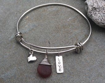Sea glass jewelry,  Wire wrapped rare red sea glass and heart expandable bangle bracelet