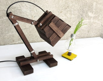 Wooden Lamp, Steampunk Lighting, Adjustable Lamp, Reading Lamp, Wooden Lighting, Office Lamp, Desk Lamp, Table Lamp, Bedside Lamp, Kran XI