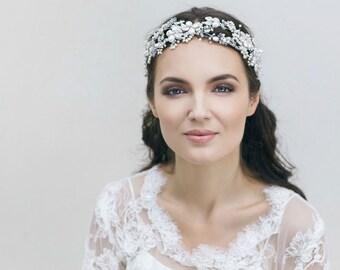 Novia accesorios, diadema de novia, tocado de novia, tocado de perlas, diadema Floral de la boda