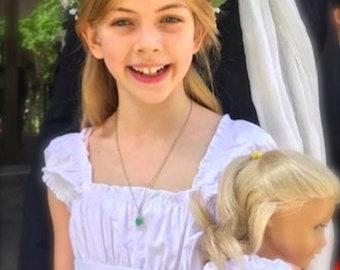 Size 3m to 14 with 18 inch Doll Zinna PDF Pattern Juvie Moon Designs  Girls Twirl Ruffle Dress with Sash
