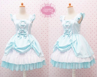 Turquoise Cute Jumper Skirt Sweetheart Neckline Sweet Lolita Dress - Kawaii - Girl Birthday Dress - Tea Party Dress - Custom to your size