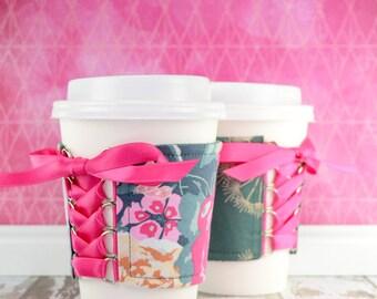 Corset Coffee Cup Cozy // Garden Rocket Cup Cozy // reversible // adjustable // reusable // eco-friendly // to go cup cozy // tumbler cozy
