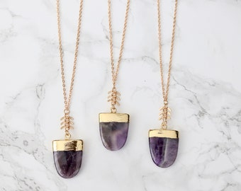 Amethyst Shield Necklace - Crystal Necklace - Purple Gemstone - Layering Necklace - Natural Stone Necklace - Gifts for Her