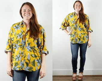 1980s Floral Yellow Button Down