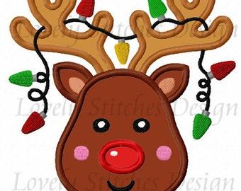 Christmas Reindeer  Applique Machine Embroidery Design NO:0294