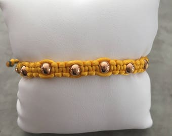 Rose gold plated bead yellow string adjustable size bracelet
