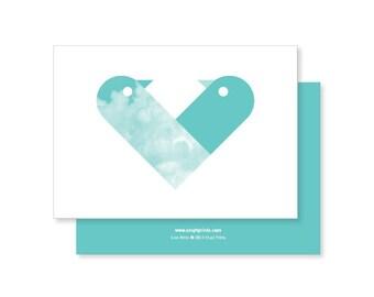 Love Birds Greeting Card - teal
