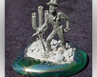 Pewter Prospector on Glass Base