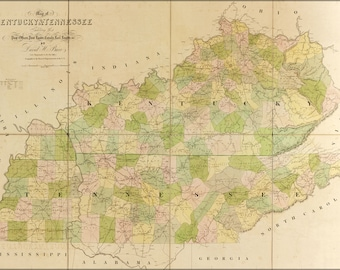 Poster, Many Sizes Available; Map Of Kentucky, Tennessee  1839