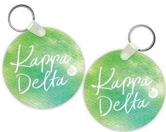 KD Kappa Delta Watercolor Script Sorority Gift Sorority Keychain