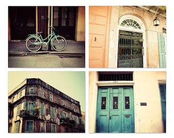 new orleans photography collection, french quarter art, new orleans doors, teal decor, orange decor, architecture, set of 4 photographs