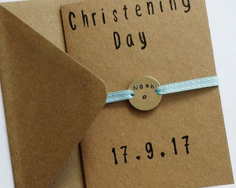 Personalised christening card / aluminium charm / metal stamped
