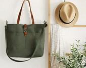 LARGE, Forest green front pocket tote / diaper bag / shoulder bag. 9 inside pockets. Waterproof lining available