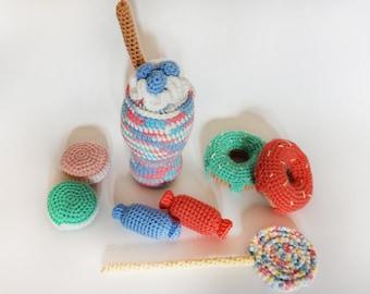 Amigurumi/food/Sweets/For baby/Children/Candy/lollipop/play/donut/Crochet cake/Toy/Sweet/Kitchen/game/Chocolate/Dessert/handmade/Cake