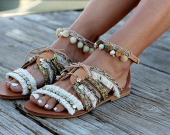 """Handmade Leather Sandals made to order, Sandals """"Indira"""""""