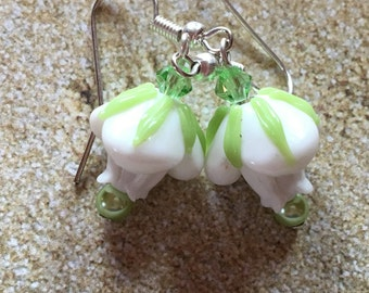 White Flower Lampwork Earrings, Earrings, Lampwork Floral Earrings, Glass Earrings, Statement Earrings