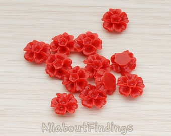 CBC138-DR // Dark Red Colored Morning Glory Flower Flat Back Cabochon, 6 Pc