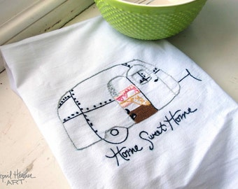 """PDF Camper Embroidery pattern - """"HOME SWEET Home"""" camper"""