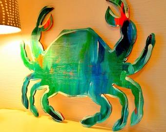 Wooden Sign, Beach Crab Sign, Coastal Sign, Beach Art, Crab Art, Blue Crab