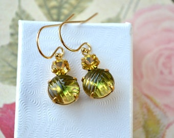 Olive Green & Yellow Earrings, Unusual Bead Earrings with Vintage Patterned Glass, Petite Green Earrings, Olive Jewelry, Mum Gift