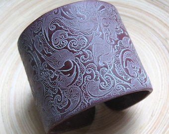 SALE Crimson Burgundy Polymer Clay Patina Asian Ornate Style Cuff Bracelet, handmade cuffs by theshagbag on Etsy