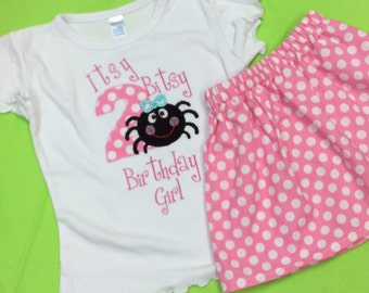 Personalized Itsy Bitsy Spider Birthday T Shirt and Skirt OutfitTee LONG or SHORT Sleeve Boys 1st 2nd 3rd 4th Tshirt Toddler Children