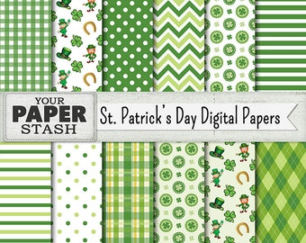 St. Patrick's Day Digital Papers, St. Paddy's, Green, Leprechaun, Lucky Charm, Luck of the Irish, Shamrock, Scrapbook Paper, Commercial Use