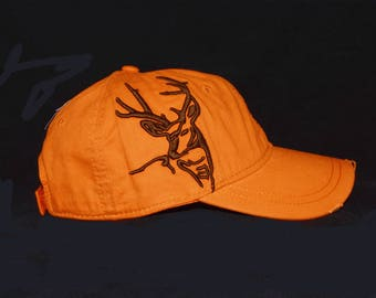 Safety orange hat with embroidered 3D deer design with embroidered back name personalization