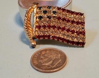 Vintage Rafaelian Rhinestone American Flag pin, American Flag pin,  American Flag