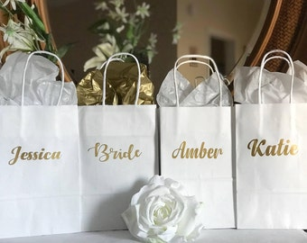 Gold personalized gift bags/ bridesmaid gift bags/Personalized Gift bags/Gift bags/wedding gift bags/bride gift bags/Custom Gift bags