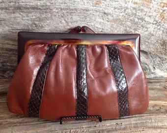 Vintage Brown Clutch Made in England clutch/vintage/purse