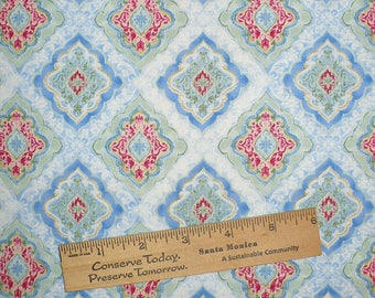Blue print fabric, Medallion, Tile pattern, Blue and White, 1/2 YARD, quilting, sewing, Destash