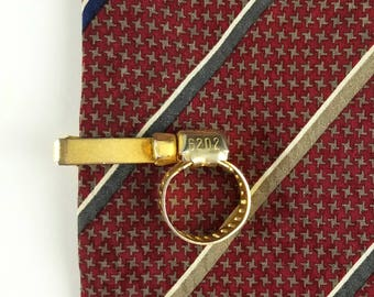 Vintage Gold Tone Hose Clamp Tie Clip, IDEAL 6202, Mechanic/Plumber Novelty Tie