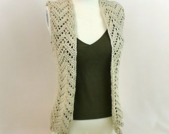 Lace Sleeveless Cardigan - Beige Sweater Vest Cover Up - Cream Open Front Top - Ivory Chevron Waistcoat -  Women Bohemian Crochet Coat