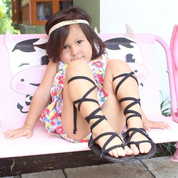 Gladiator Baby Sandals, Greek Sandals, Black Baby Sandals, Leather Sandals, Infant Girl Sandals, Toddler Shoes, Lace Up Baby Sandal