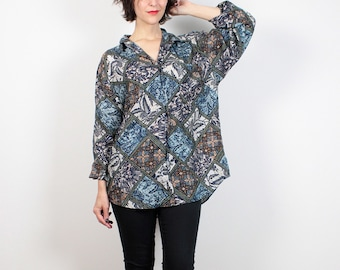 Vintage 80s Blouse Blue Paisley Oversized Shirt 1980s Silk Blouse Floral Draped Mixed Print Boyfriend Shirt Silk Shirt M L Extra Large XL