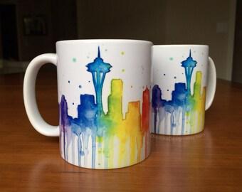 Seattle Skyline Rainbow Mug, Seattle Ceramic Mug, Coffee Mug, Coworker Gift, Seattle Mug, Drinkware, Rainbow Mug, Space Neelde Art