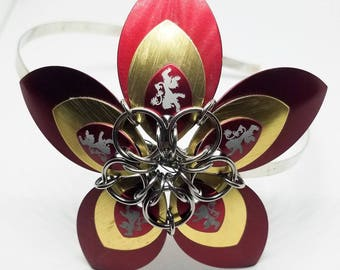 Large Gryffindor Scale Flower Chainmaille Headband