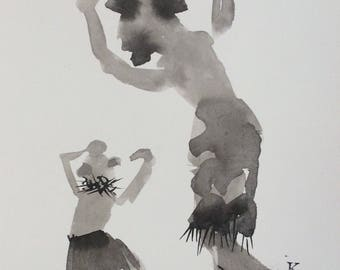 Original art ink drawing The Mudhead Kachina Dance