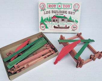COMPLETE Original Roy Toy Log Lincoln Log Cabin Building Construction Play Set Made in Machias, Maine USA Vintage The Fort Collection # 3