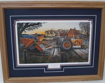 Framedd 21 x 27 Case Country Farm Tractor art by Russell Sonnenberg titled One Last Round