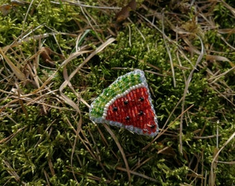 Summer time OOAK bead embroidery WATERMELON brooch