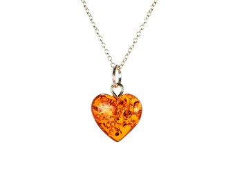 Amber necklace - fossil necklace - healing necklace -  heart necklace - a heart shaped baltic amber on a sterling silver chain - 423
