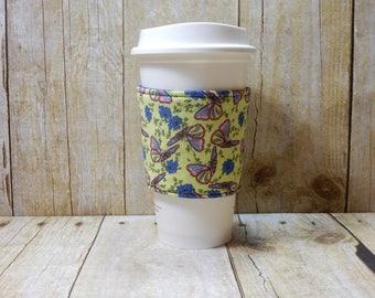Fabric Coffee Cozy / Butterflies on Green Coffee Cozy / Butterfly Coffee Cozy / Coffee Cozy / Tea Cozy