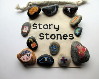 Pirate story stones. imagination builder, story building activity, teacher gift