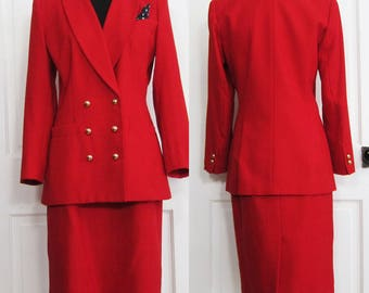Vintage 80s Power Suit Kasper Size 8 Small Medium Red Gold Button Double Breasted Blazer and Skirt