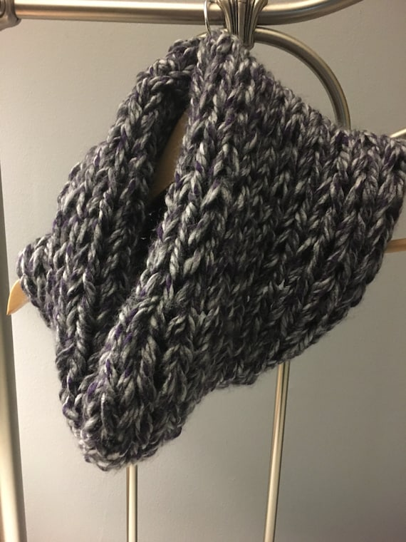 Chunky knit cowl, womens knit scarf, chunky scarf, knit fashion, grey and purple scarf, cozy scarf, winter accessories