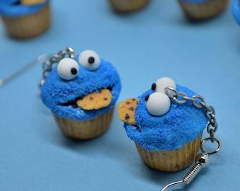 Cookie Monster cupcake earrings,Cookie Monster earrings,Sesame street earrings,Polymer clay jewelry,Miniature food jewelry